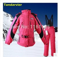 belted ski jacket - Winter women ski suit set belt paragraph windproof ski suit