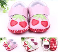 kids shoes cheap - strawberry baby shoes soft toddler shoes girls leather shoes pink white newborn Casual shoes cheap kids shoes pairs ZH