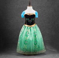 Wholesale In stock green costume dress for kids girls dress costume fantasy princess dress elsa anna costume dress kids
