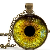 Pendant Necklaces wolf jewelry - NEW Yellow Colour Wolf Eye Necklace Pendant Bronze Wild Wolves Animal Jewelry Art Charm Jewellery Gift
