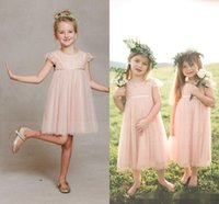beautiful ribbon - Beautiful Short Ball Gowns Tulle Pink Lace Flower Girl Dresses For Weddings Kids Girls Sleeves Dress Tea Length Garden Communion Gowns