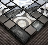 Wholesale Crystal glass mosaic tile metal mosaic tiles stainless steel home decoration modern design mosaic tiles Wall Stickers wall cladding tile