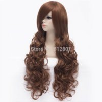 Cheap Free Shipping 13 colors Fashion 70cm Long Curl Heat Resistant Hair Costume Party Full Wig Brown
