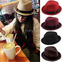 felt hat - Unisex Vintage Ladies Mens Wool Felt Trilby Bowler Fedora Bowknot Hat Cap fx226