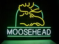 Wholesale NEW MOOSEHEAD LAGER ALE MAINE MOOSE REAL GLASS NEON BEER BAR PUB LIGHT SIGN