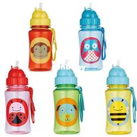 baby bottles - styles Baby Kids Children Feeding Dishes Utensils Zoo Drinking Straw Bottle Sippy Cups Random delivery