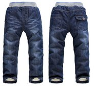 Wholesale 5pcs children jeans new winter kids clothes girls thick warm trousers boys denim pants toddler clothing for Y HX