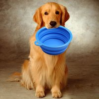 Wholesale Dogs Cats Pet Portable Silicone Collapsible Travel Feeding Bowl Water Dish Feeder