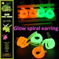 aluminum earrings - Fluorescent eardrop Glow spiral earring Fluorescent earring Glow Stick Light Stick w Aluminum foil bag packaging