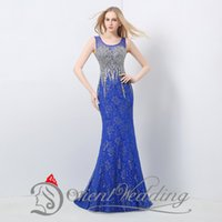 neck lace - 2015 Vintage Lace Party Evening Dresses Mermaid Backless Sheer Scoop Neck Sequins Beaded Formal Evening Gowns Real Image