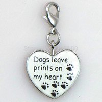 allow dogs - ashion Jewelry Charms Fashion metal heart animal dangle charm enamel dog paw print charms for necklace and bracelet s allow