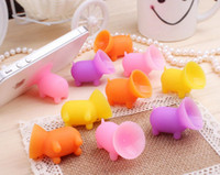 Wholesale universal Cute pig shape colored Silicon phone holder cell phone holder seat lazy phone holder For Iphone Samsung Ipad sony tablet