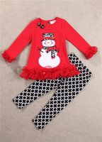 Wholesale 2015 new baby girls Red Xmas gift set pure cotton long sleeve girl Christmas Snowman t shirt Plaid pant children clothing set