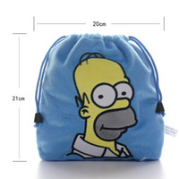 Wholesale 2015 Blue The Simpsons Movie Character Homer J Simpson Plush Sack Drawstring Storage Bag Gift Sundries Pouch New LN