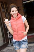 Wholesale Fashion Autumn Winter Women Cotton Coats Thin Warm Vests Ladies Short Sleeveless O Neck Solid Zipper Hooded Outwear C80a