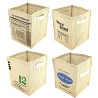 Wholesale Simple Zakka Stackable Recycle Bin Storage Boxes Jute ECO Friendly SNFH036
