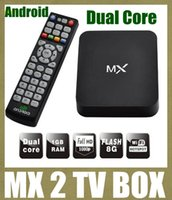 Wholesale android mx2 tv box dual core mx android smart tv box windows free to air set top box with power adapter digital cable magic box black OTH037