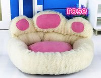 Wholesale 2016 NEW Polar Bear Bear Paw Pet Nest Warm Teddy Kennel Ultra Plush High Quality Backrest Type Dog Bed color M kg