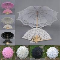 battenburg lace parasol umbrella - full lace Parasol and Fan Victorian Design Umbrella wedding Bridal battenburg handmade embroidery color u pick H106S