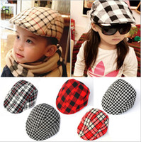 baby girl stores - House kids stores offer fashion children beret cap tide treasure classic plaid baby hat beanie hat boys and girls