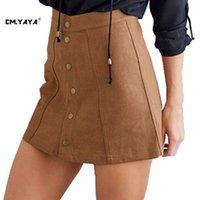 Wholesale CMYAYA New Design Women Casual Spring Autumn Colors A Line Button Decoration Fashion Mini Skirt