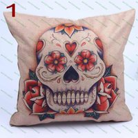 Wholesale Fashion linen vintage Skull home pillow cushion covers car pillow