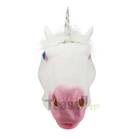 halloween latex mask - hot Halloween Party Latex Animal mask for Adult Novelty Creepy White Unicorn Horse Head latex Rubber Costume Theater