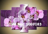 Cheap Free shipping 100% Handmade Large Purple Orchid Oil Painting Picture Wall Art Flower Interior Home Decoration