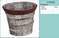 hanging flower basket - Birch bark frlower hanging basket rattan gardening horticulture arts flower pot
