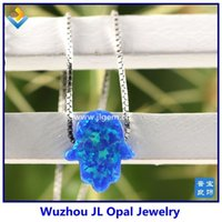 Wholesale 3 Color Mixed MM Fire Opal Hamsa Pendant Sterling Silver Box Chain Necklace