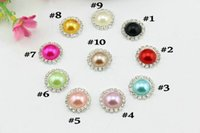 Wholesale Trial order color mm flat back crystal pearl button Metal rhinestone buttons diamante button in Sliver