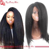 base coarse - Best Kinky Straight Virgin Glueless Full Silk Base Wigs Human Hair x4 Inches Long Brazilian Silk Top Lace Wigs Coarse Yaki For Women