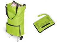 shopping trolley bag - Oxford shopping bag mall trolley shopper bag portable folding carrier bag green convenient tote bag with wheels
