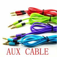 Wholesale 3 mm AUX audio cables male to male Stereo Car Extension audio Cable for MP3 for phone colorful HD sound