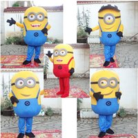 Wholesale 5styles EMS FREE Brand New Despicable Me Minion Cartoon Mascot Costume Adult Cartoon Character Minions Costumes Halloween Costume