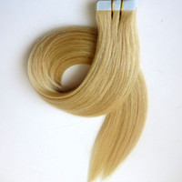 glue in hair extensions - 20pcs Set g Tape in Hair Extensions Brazilian human hair inch Platinum Blonde Glue Skin Weft Indian Remy hair free brush
