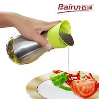 Wholesale Bairun Condiment glass bottles Stainless Steel outside rotary sauce vinegar bottles kitchen tools