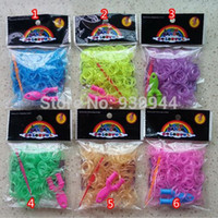 Cheap Free shipping glow in the dark loom bands for diy Bracelet (300 Rubber bands+ 12 S-Clips+Y shape stand+1 Hook) 12packs lot