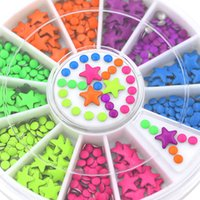 Wholesale Neon Color Star and Half Round Metal Studs Nail Art Salon Stickers Tips DIY Decorations with Wheel Chic Design