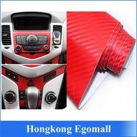 Wholesale 1pc For car DIY D RED Decal Carbon Fiber Vinyl WrapFilm Sheet Sticker x152CM