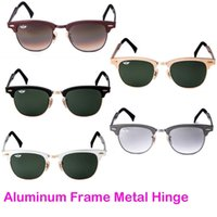 Wholesale Mens Sunglasses Designer Brands Sunglasses BanDtun Top Quality Aluminum Frame Metal Hinge Green Glass Lens UV400 Polarized Sunglasses