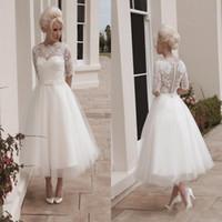 balls housing - Vintage Short Wedding Dresses Ball Gown Tea Length Long Sleeves Lace Appliques Sash House of Mooshki Darla Covered Button Dresses BO9488
