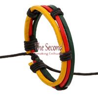 beaded pot - RASTA bracelet Africa colors bracelets Reggae Rasta Stripe Leather Wristband Bracelet Bob Marley Jamaica bracelet pot