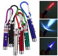 Wholesale 3 in Laser Flashlights Multifunctional Triple Led Mini Flashlight infrared laser light teaching UV money detector light LED flashlight