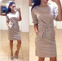 2015 otoño invierno las mujeres vestidos de la moda de las señoras ocasionales adelgazan los vestidos de bolsillo Fajas OL más el tamaño Breve Trabajo Sexy Roupas Femininas OXL15091408