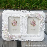 acrylic double photo frames - Frame inch double box resin frame frame white princess European retro wedding photo studio box