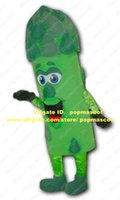 green asparagus fresh - Fresh Green Asparagus Sparrowgrass Asgus Asparago Mascot Costume With Short Curve Eyebrows Bright Blue Big Eyes No Free Sh