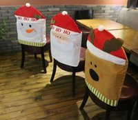banquet kitchen - Reindeer Snowman Santa Clause Christmas Chair Covers Kitchen Dinner Banquet Chair Covers Natal Navidad Indoor Christmas Decorations