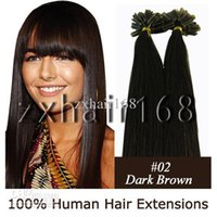 Wholesale 100S quot quot quot quot quot Nail tip hair remy Human Hair Extensions Dark Brown mix