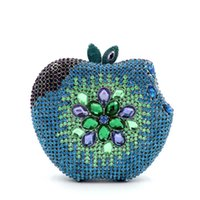 apple cosmetic bags - Blue apple Full Crystal Evening Bag Bling HK Crystal Bag Metal Harecase Jewellery Box Cosmetic Case